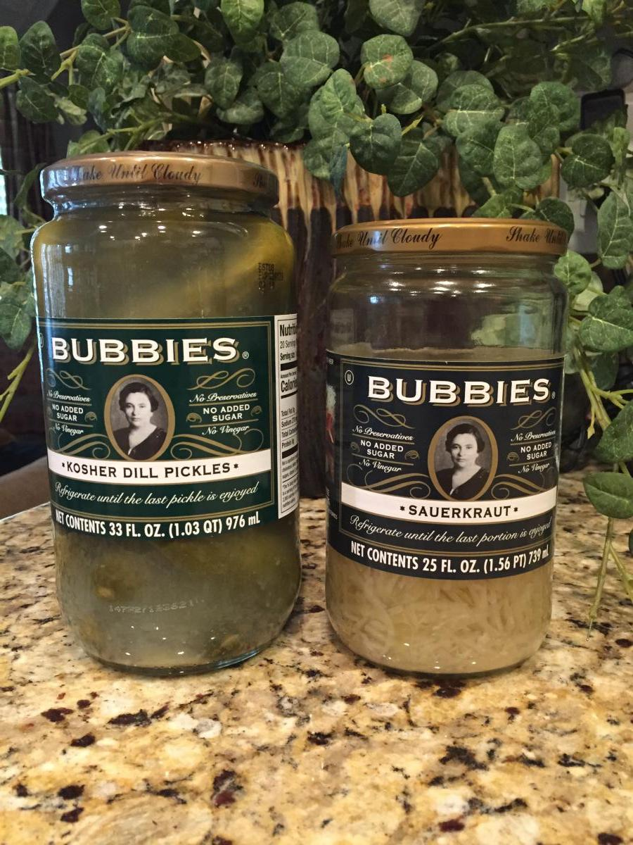 Bubbies Dill Pickles and Sauerkraut