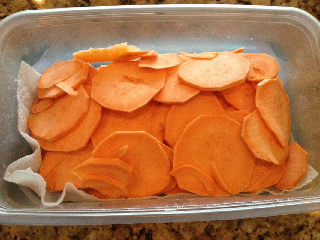 Sliced Raw Sweet Potato