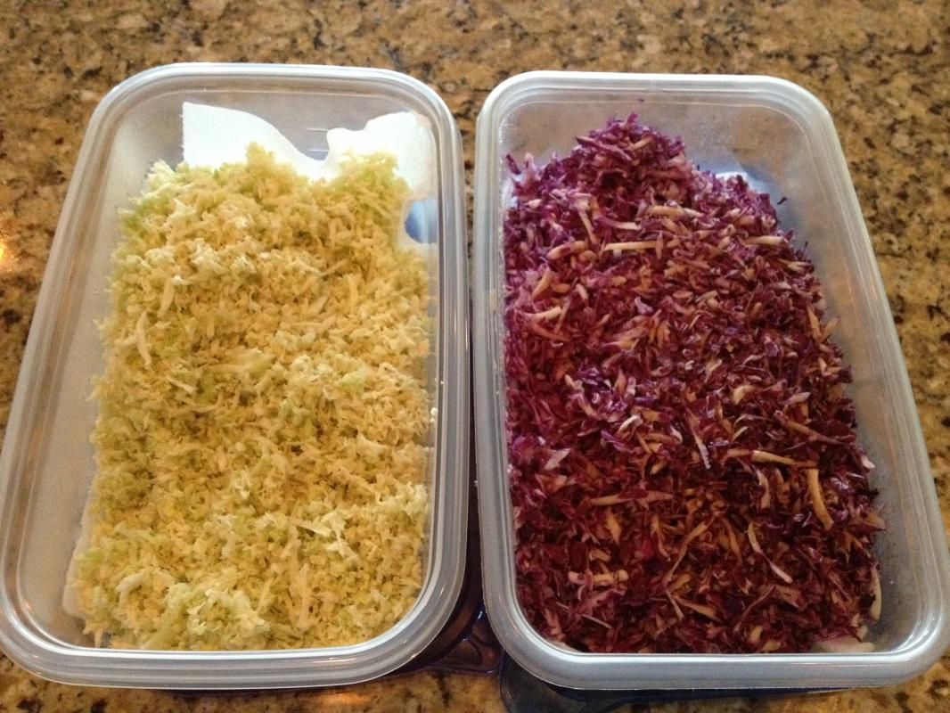 Sliced Red And White Cabbage